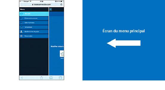 : Menu principal de l'application mobile Total Connect 2.0E pour le système d'alarme Le Sucre.