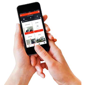 Menu réel de la app Total Connect Comfort International d'Honeywell pour système d'alarme.