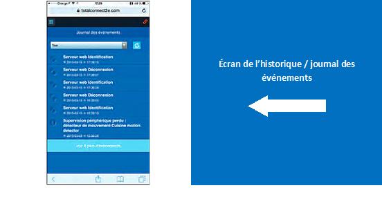 L'historique des événements est visible sur cette page de l'application mobile « Total Connect 2.0E »