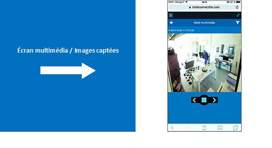 Les images sont stockées ici sur la page de surveillance de l'application mobile Honeywell