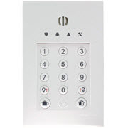 Le clavier à DEL, lecteur de badges et sirène adaptés pour la centrale d'alarme sans fil Domonial.