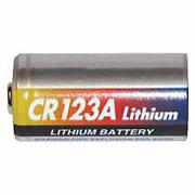 Une simple pile au Lithium CR123A pour périphériques de la centrale d'alarme sans fil Domonial.